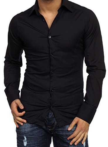 Redbridge Herren Business-Hemd, Einfarbig Schwarz - Schwarz