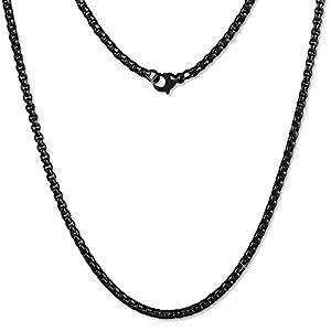 Amello Coinskette Damen Edelstahl-Kette 50cm geschwärzt Edelstahlschmuck ESC101S
