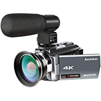 4K Camcorder,Ansteker Ultra HD Video Camera Kit 48MP 16x Digital Zoom Camcorder with Infrared Night Vison, External Microphone and Wide Angle Lens, 3.0IN Rotation Touch Screen