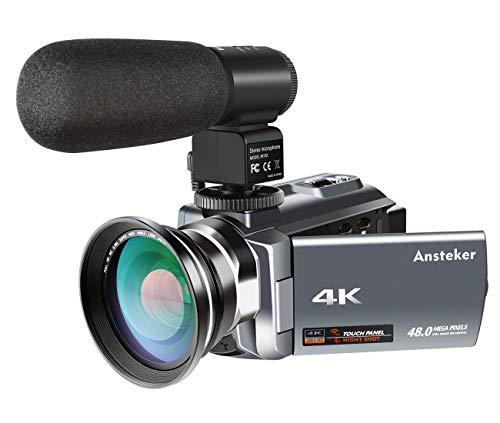 Cámara Videocámara, Ansteker 4K Cámara de video Ultra HD Kit Cámara de zoom digital 16MP 16x con Visón nocturna infrarroja, control remoto, micrófono externo y lente gran angular, pantalla táctil de rotación 3.0IN
