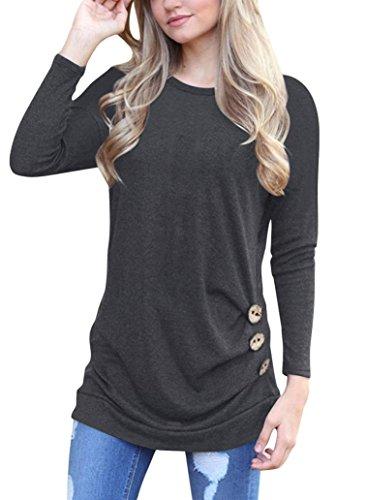 OverDose Frauen Solide Shirt Langarm Botton Falten Bluse Lässig O Neck Casual Tops Plus Größe(L,A-Schwarz) (Solide Kimono)
