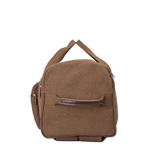Eshow Herren Canvas Schulter Rucksack Umhaengetasche Backpack Sporttasche Reisetasche Kaffee 2