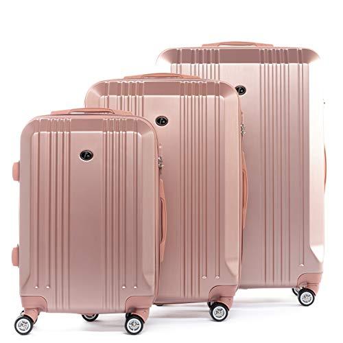 FERGÉ® Kofferset Hartschale 3-teilig Cannes Reise-Koffer Set leicht 3er Hartschalenkoffer Trolley Set (M L XL) 4 Zwillings-Rollen (360°) pink