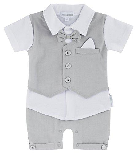 Nursery Time Baby Strampler Einteiler Junge Anzug Weste Fliege weiß grau kurzärmlig kurze Hose Hemd (56/62 (0-3))