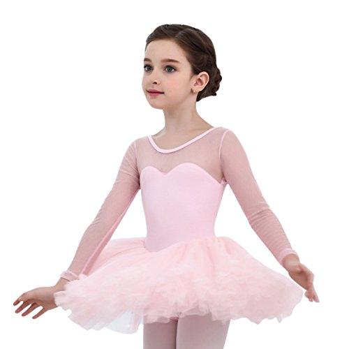 Qlan Kinder Mädchen Ballett Tutu Gymnastik Trikot Rock Tutu Dance Kleid 4-15Year (Ballerina Kleid Kinder)
