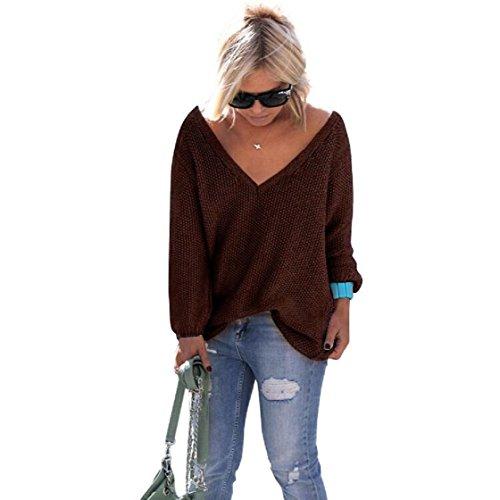 Vovotrade 2016 Automne Nouveaux Femmes Long tricot à manches Pull ample Sweater Pull Tops Tricots Café