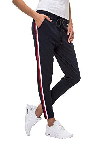 Hachiro Damen Hose Freizeithose 7/8-Hose Sportswear Style (L, Navy)