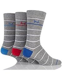 Mens 3 Paar Pringle Dunoon weiße gestreifte Socken aus Baumwolle