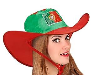Atosa-24480 Atosa-24480-Gorro Cowboy Portugal Plegable-Mundial De Fútbol Y Deportes, Color Verde y Rojo (24480