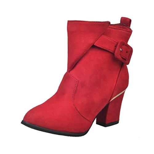FEITONG Frauen Stiefel Damen Boots Winter Freizeit Wasserdicht Schuhe Anti-Slip High Heels Martin Stiefel Schuhe (EU:39=CN:40, Rot)