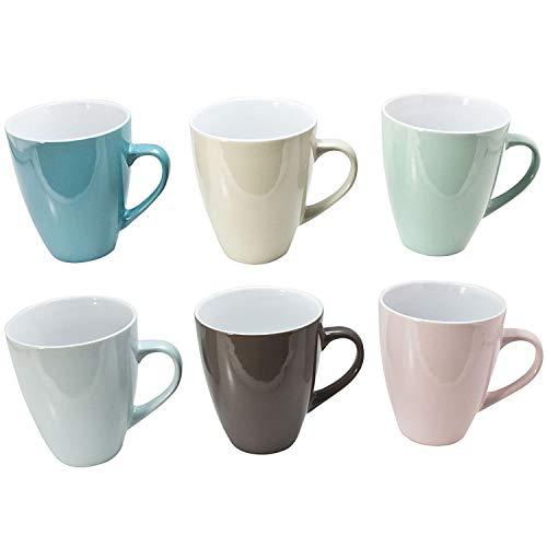 esto24 6 XXL Kaffeebecher Set Keramik 540ml Jumbo Pott Pastell Farben für Ihr liebstes Heißgetränk für Kaffee, Cappuccino und Latte Macchiato