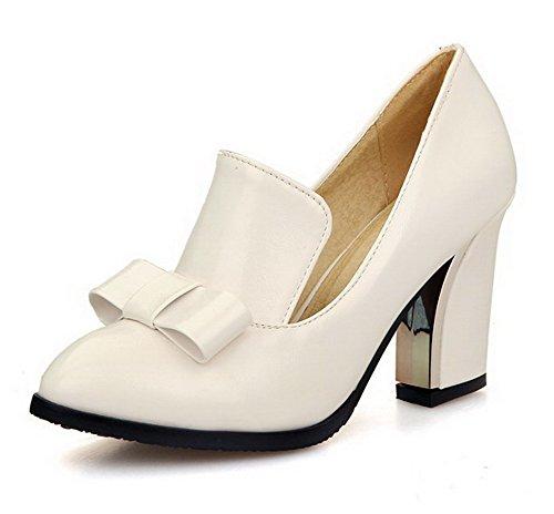 Senhoras Allhqfashion Pu Couro Reinziehen Dedo Apontado Para Sapatos De Salto Alto Bombas De Creme