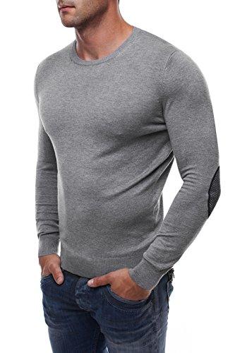 OZONEE Herren Pullover Longsleeve Sweatshirt Shirt Langarmshirt LP6002 Grau_LP9025