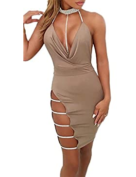 Verano Mujer Vestidos Sexy Profundo Cuello V Cuello Halter Bodycon Mini Vestido Moda Hueco Vendaje Lápiz Corto...