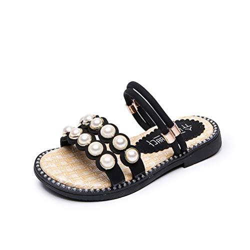 Mädchen Sandalen Sommer Kinder Pearl Hausschuhe Open Toe Beach Schuhe, 26-36 für Strand, Pool, Schlafzimmer, Wohnzimmer,Black,34 -