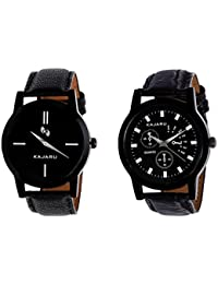 Kajaru KJR-7,9 Round Black Dial Analog Watch Combo For Men (Pack Of 2)