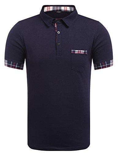 Burlady Poloshirt Herren T-Shirt Core Stretch Slim Cneck Tee Sommer Trikot(80-dunkelblau, S) -
