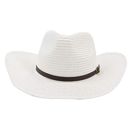 en Outdoor Strand Sonnenhut Sonnencreme Visier Schwarz Schmaler Ledergürtel Großer Hut Western Cowboy Strohhut Stilvoll (Farbe : Weiß, Größe : 56-58CM) ()