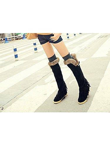 Femme Boots Plat Doublure Epais Chaud Hiver Fourrure Frange Noir