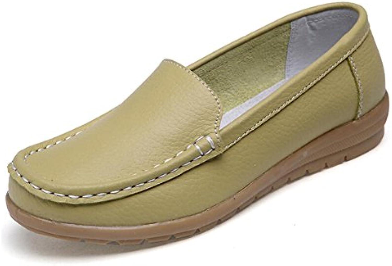SHINIK Zapatos de mujer de cuero Primavera Verano Zapatos de mamá Low-Top Oxford Slip-Ons Zapatos de guisantes...