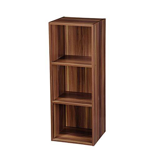 TOP Marques Collectibles 1, 2, 3, 4Etagen Holz Bücherregal Regalsystem Display Aufbewahrung Holz Regal Böden Einheit, braun (Teak), 3 Ablagefächer
