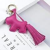Mode Schlüsselbund Netter Hund Schlüsselanhänger Anhänger Tasche Schmuck Perlenschmuck Geeignet für Schlüssel, Brieftaschen, Rucksäcke, H (Color : Red)
