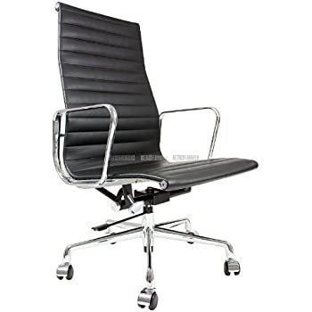 office chair eames. Eames Inspired High Back Ribbed Office Chair In Black Leather