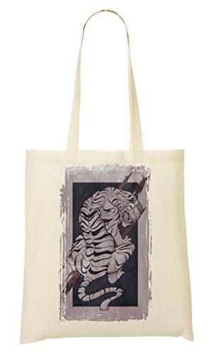 Tiger | Animal Collection | Angry | Predator | Prey | Hunting | Vintage | Cartoon | Old School | Simple | Shape Tragetasche Einkaufstasche