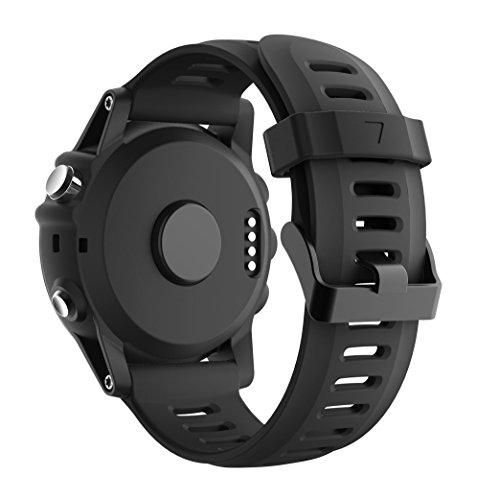armin Fenix 3/Fenix 5 x reloj banda, Yayuu suave silicona reloj accesorio correa de repuesto para SMART Garmin Fenix 3/Fenix 3 HR/Fenix 5 x reloj, negro