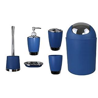 Jeu de 6accessoires de salle de bain Dont distributeur de savon, brosse de WC et porte-brosse bleu