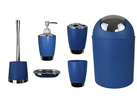 6tlg BADSET BADEZIMMER ZUBEHÖR SET SEIFENSPENDER HALTER WC BÜRSTE BADGARNITUR (blau)
