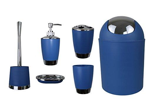 Gmmh set di 6 accessori da bagno, con dispenser per sapone, portasapone e scopino per wc. blu