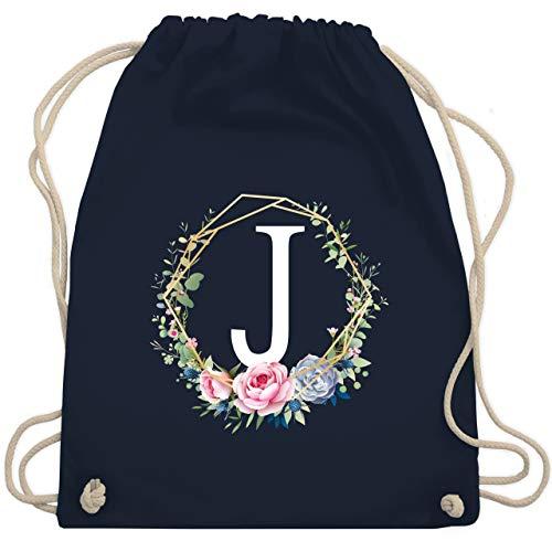 Anfangsbuchstaben - Blumenkranz mit Buchstabe J - Unisize - Navy Blau - WM110 - Turnbeutel & Gym Bag (J-rucksack Buchstaben)