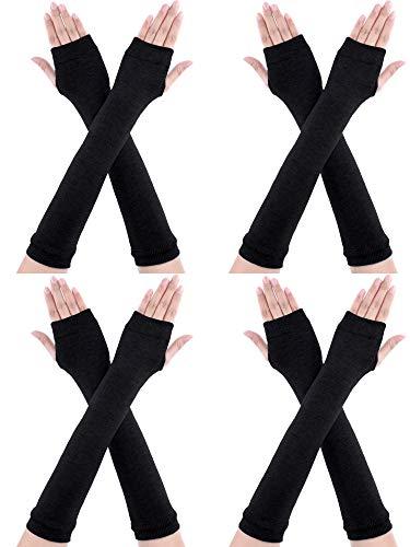 Bememo 4 Paar Winter Lange Fingerlose Handschuhe Gestrickte Armwärmer Ellenbogen Länge Handschuhe Daumen Loch Handschuhe für Damen Mädchen (Farbe H)