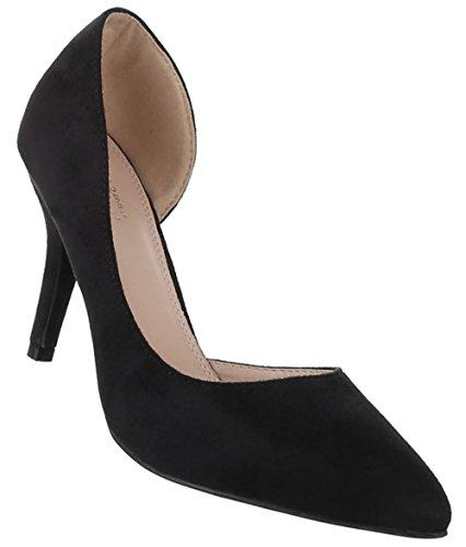 Damen-Schuhe Pumps | Frauen High Heels mit 9 cm Stiletto-Absatz in verschiedenen Farben und Größen | Schuhcity24 | in Wildlederoptik Schwarz
