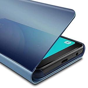 Oihxse Espejo Funda Compatible con Samsung Galaxy A5 2018/A8 2018 Carcasa Ultra Slim Mirror Flip Translúcido View Tipo…