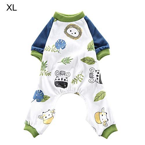 xuanyang524 Haustier Hund Pyjamas Weiche Baumwolle Onesies Shirts Animal Printed Overall Overalls Puppy Dog Schlafen Kleidung Pjs Bekleidung feasible (Kleidung Pjs Hund Pyjama)