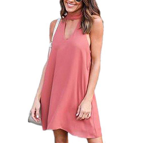 ASCHOEN Damen Casual Minikleid A-line Kleid Sommerkleid Strandkleid Chiffonkleid Partykleid
