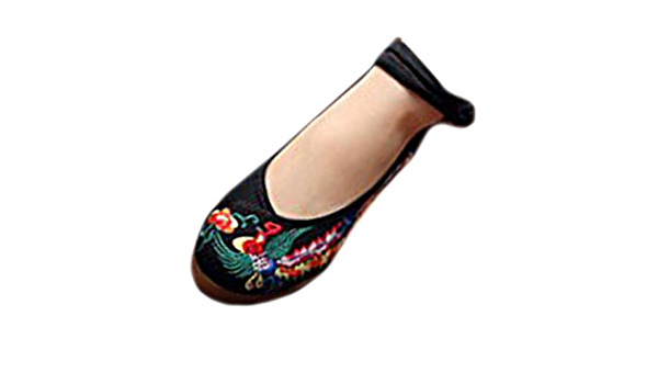 Kangzy Chaussures Florales Chinoises Brod/ées Vintage Femme MEIRENTU Ballerines Mary Jane Ballerine Flat Ballet Cotton Loafer Noir