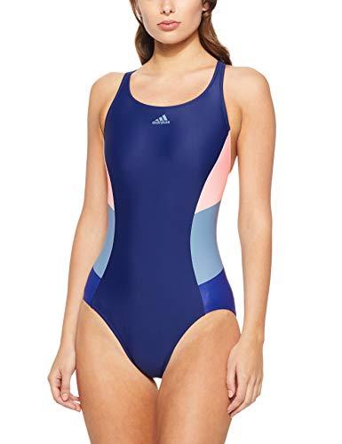 adidas Damen Fitness 1 Piece Colorblock Badeanzug, Dark Blue/Clear Orange, 34