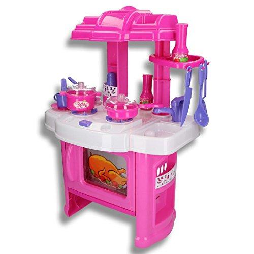 HSM Mini Küche Kinderküche Spielküche Kinderspielküche XS Küche Pink 60x42x28cm