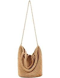 Funbase Women Straw Woven Tote Handbag Crossbody Shoulder Bag For Beach Travel