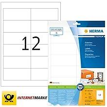 HERMA Self Adhesive Multi-Purpose Labels, 12 Labels Per A4 Sheet, 120 Labels For Laser And Inkjet Printers, 97 x 42.3 mm (8628)