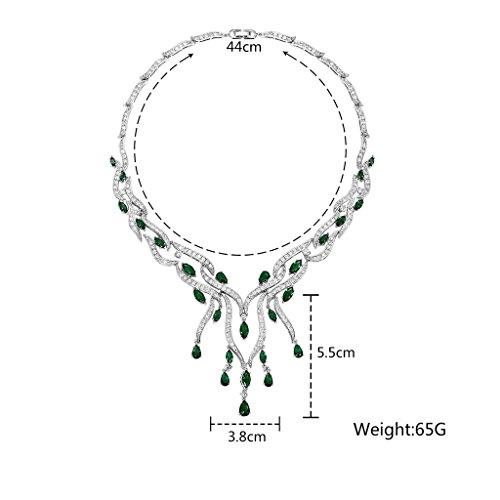 Aooaz Mesdames Argent Collier Argenté Branches Houppe Zrikonia Remorque Tassel Cluster Couleurs Cristal Remorque Chaîne de Mariage Vert