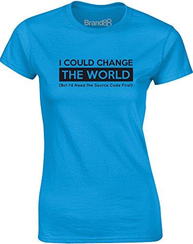 Brand88 - Source Code, Gedruckt Frauen T-Shirt Türkis/Schwarz