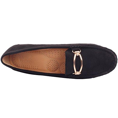 Loafers Schuhe 3 Unze 'bridges' 13q361 Büro Detaillierte Schwarz Women hardware Größe 8 Moccasin Erweiterte New Flache Pumps 2 Uk Metall Montage qaOqgPrw
