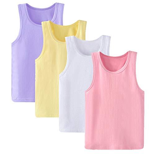 Anntry 2 8 Anni Little Girls Tinta Unita Canottiere Morbido 4 Pezzi Confortevole Canottiere Traspiranti per Bambini