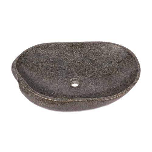 wohnfreuden Naturstein Waschbecken - 60 cm Steinwaschbecken grau oval