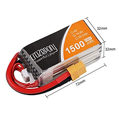 Crazepony 2pcs 1500mAh 4S 100C LiPo Battery 14.8V with XT60 Plug for RC Mini Racing Drone FPV Quadcopter Boat Truck Heli Airplane