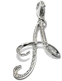 Gioie Women's Pendant in White 18k Gold with Diamond H/SI, Line Initials, 2.2 Grams